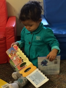 A Bright Beginnings toddler with a few books from the RX for Reading delivery