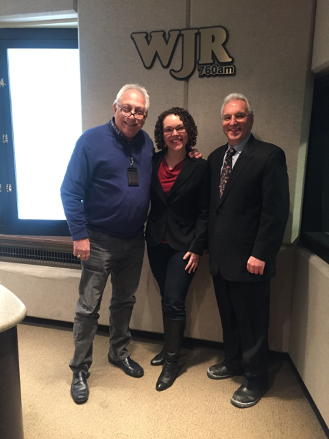 RX for Reading Executive Director Mary-Catherine Harrison with Paul W. Smith and Stephen Luigi Piazza, hosts of Opportunity Detroit on WJR.