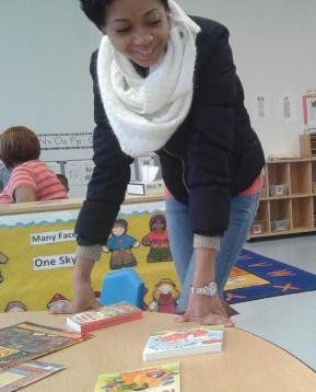 Renesha supervises book selection
