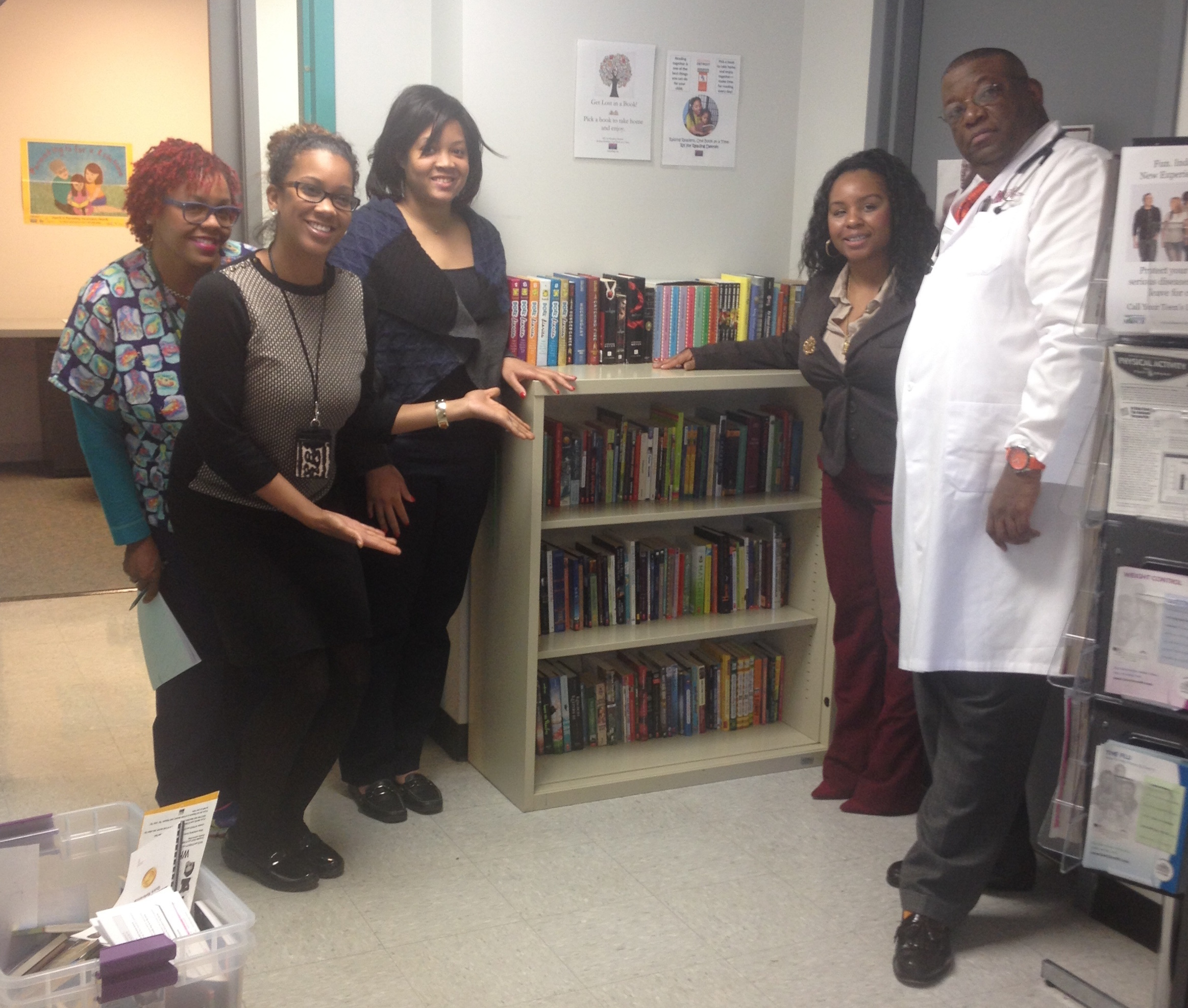 The staff at the Healthy Teen Center with the RX for Reading Library!