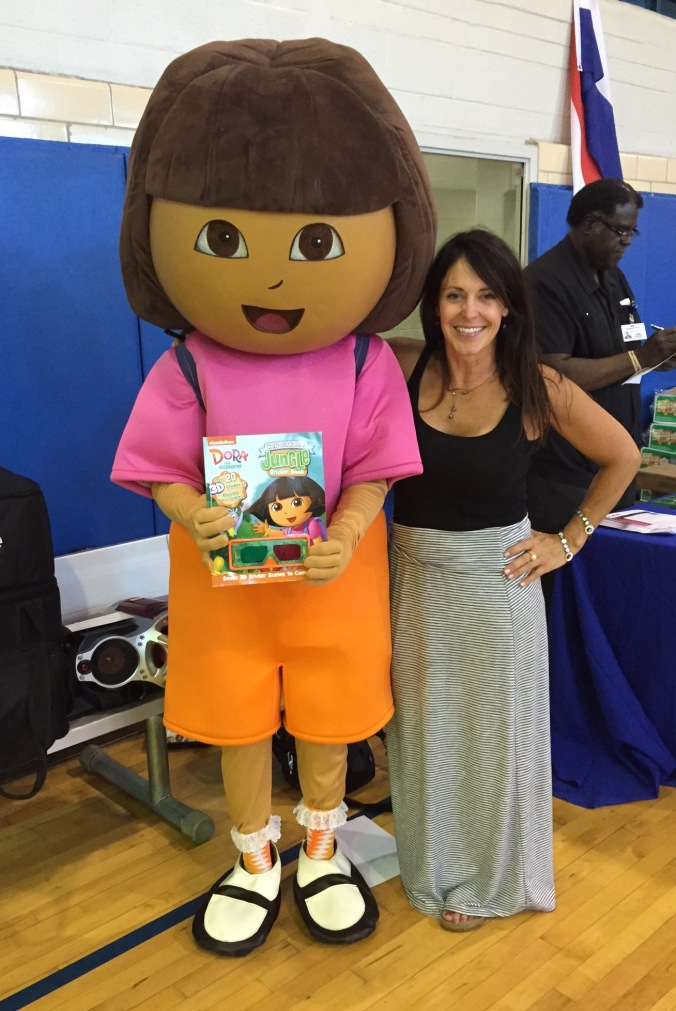 Beth Jordon and Dora, with one of RX for Reading's  Dora the Explorer book, of course!