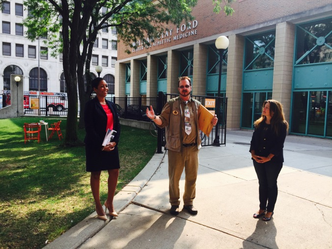 Aliyah Sabree of the Mayor's Office, Todd Bol or Little Free Libraries, and Kim Kozlowski of Detroit Little Libraries.