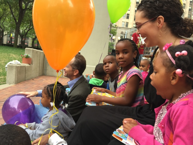 RX for Reading Director Mary-Catherine Harrison chats with some of the kids.