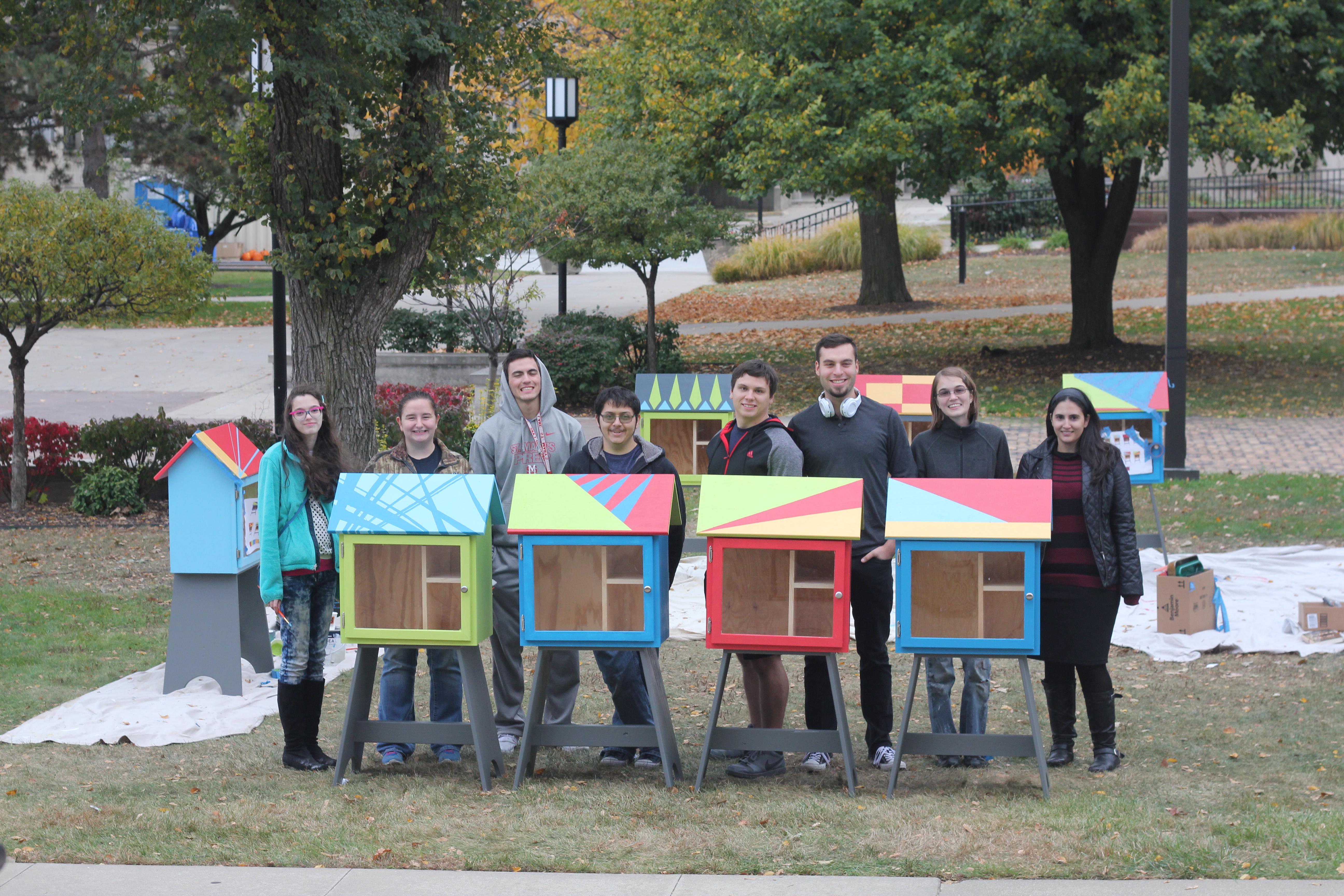 School of Architecture students with some of the Little Free Libraries Rx for Reading will be distributing throughout the city.